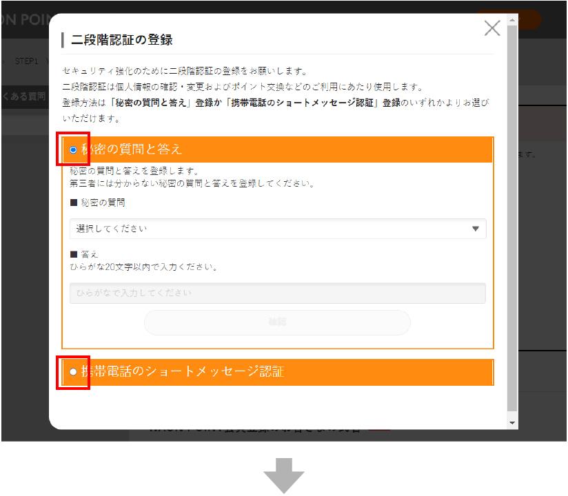 二段階認証の登録を入力してください。「秘密の質問と答え」又は「携帯電話のショートメッセージ認証」どちらかを選択し、案内に従って二段階認証の登録をすすめてください