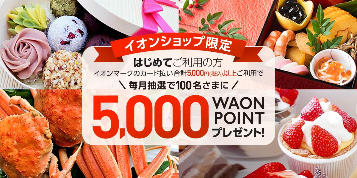 イオンショップ限定 はじめてご利用の方イオンマークのカード払い合計5,000円(税込)以上ご利用で毎月抽選で100名さまに5,000WAONPOINTプレゼント!