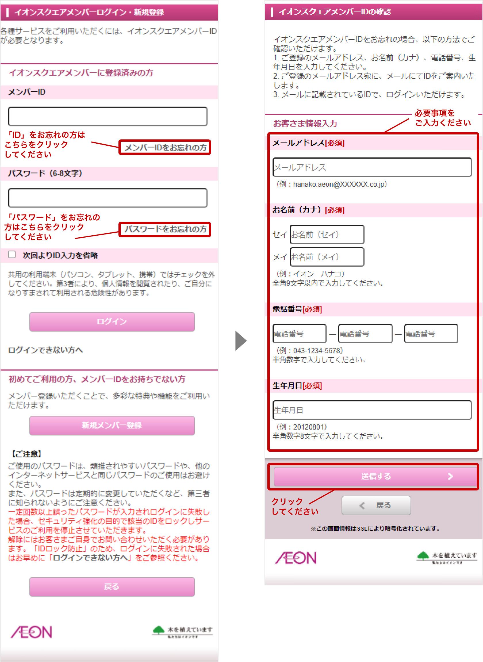説明画像:イオンスクエアメンバー ログイン・新規登録画面より、メンバーIDをお忘れの方(またはパスワードの方)をクリックし、必須事項を入力したのち送信ボタンを押すことで、メールにてログイン情報をお送りいたします。