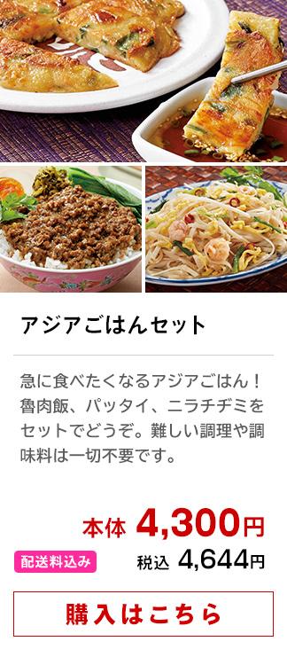 アジアごはんセット│急に食べたくなるアジアごはん!魯肉飯、パッタイ、ニラチヂミをセットでどうぞ。難しい調理や調味料は一切不要です。