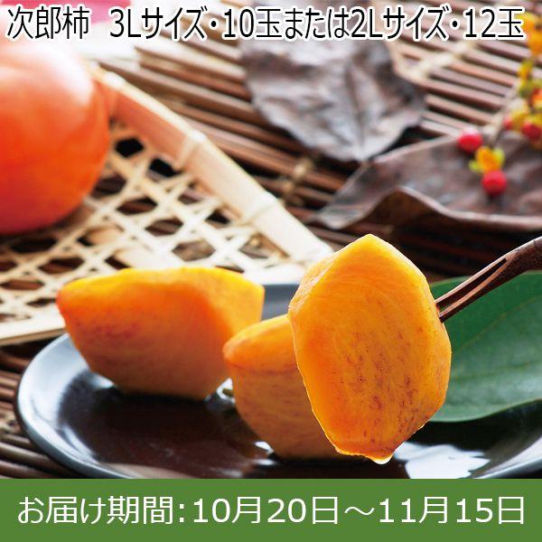 三重県産(JA多紀郡)次郎柿 3Lサイズ・10玉または2Lサイズ・12玉【ふるさとの味・東海】