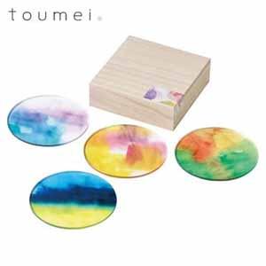 toumei あわいろコースター4枚セット  【年間ギフト】[V0257-03]