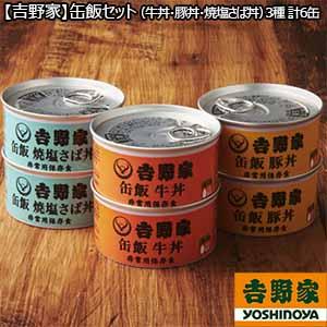 【吉野家】缶飯セット(牛丼・豚丼・焼塩さば丼)3種 計6缶 (L5622) 【サクワ】