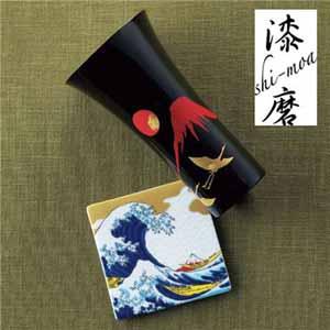 漆磨カップシングルL手描き漆絵箔ちらし赤富士に鶴九谷焼コースター付【贈りものカタログ】